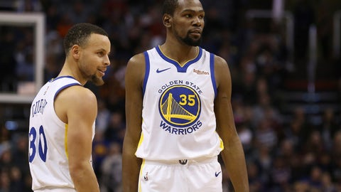 <p>               FILE - In this Feb. 8, 2019, file photo, Golden State Warriors guard Stephen Curry (30) and forward Kevin Durant (35) pause during the first half of an NBA basketball game against the Phoenix Suns Friday, Feb. 8, 2019, in Phoenix. Someday, years or even decades from now, at one of those celebratory reunions teams like to do, Stephen Curry knows he and Kevin Durant will reminisce with fondness about their three insanely successful years together on the Golden State Warriors. They will reflect on the greatness, the fun, all they learned from each other shooting side by side day after day to become better from their time as teammates. Two championships, a pair of NBA Finals MVP awards for Durant. (AP Photo/Ross D. Franklin, File)             </p>