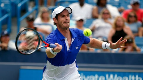 <p>               Andy Murray, of Britain, returns a shot against Richard Gasquet, of France, during first-round play at the Western & Southern Open tennis tournament Monday, Aug. 12, 2019, in Mason, Ohio. (AP Photo/Gary Landers)             </p>
