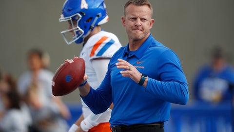 <p>               FILE - In this Saturday, Oct. 27, 2018, file photograph, Boise State head coach Bryan Harsin throws passes to receivers in front of quarterback Brett Rypien before an NCAA college football game against Air Force at Air Force Academy, Colo. This season, the Broncos don't have reliable quarterback Brett Rypien. He's with another rendition of the Broncos after signing as an undrafted free agent with Denver. For a change, coach Bryan Harsin is breaking in a new QB.  (AP Photo/David Zalubowski, File)             </p>