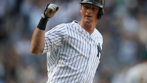 <p>               New York Yankees' DJ LeMahieu gestures towards the dugout after hitting the game-winning walk off home run in the 11th inning of a baseball game against the Oakland Athletics, Saturday, Aug. 31, 2019, in New York. (AP Photo/Mary Altaffer)             </p>