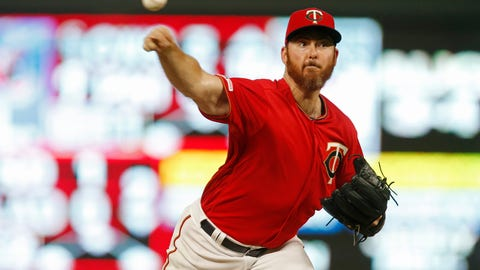 <p>               Newly signed Minnesota Twins pitcher Sam Dyson makes his home debut as he throws against the Kansas City Royals during the eighth inning of a baseball game Friday, Aug. 2, 2019, in Minneapolis. The Twins won 11-9. (AP Photo/Jim Mone)             </p>