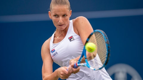 <p>               Karolina Pliskova, of the Czech Republic, hits a backhand to Anett Kontaveit, of Estonia, at the Rogers Cup tennis tournament in Toronto, Thursday, Aug. 8, 2019. (Frank Gunn/The Canadian Press via AP)             </p>