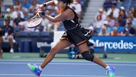 <p>               Naomi Osaka, of Japan, returns a shot to Anna Blinkova, of Russia, during the first round of the US Open tennis tournament Tuesday, Aug. 27, 2019, in New York. (AP Photo/Michael Owens)             </p>