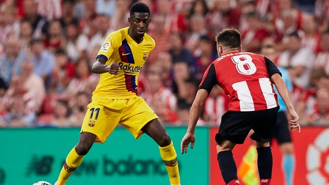 <p>               Barcelona's Ousmane Dembele, left, duels for the ball with Athletic Bilbao's Unai Lopez during the Spanish La Liga soccer match between Athletic Bilbao and FC Barcelona at San Mames stadium in Bilbao, northern Spain, Friday, Aug. 16, 2019. (AP Photo/Ion Alcoba Beitia)             </p>