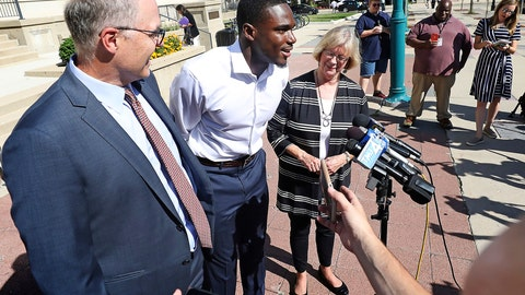 <p>               Wisconsin Badger football player Quintez Cephus speaks during a press conference outside the Madison Municipal Building addressing his reinstatement to the university in Madison, Wis. Monday, Aug. 19, 2019. He is pictured with his attorneys, Stephen Meyer and Kathleen Stilling. The university expelled Cephus last semester for violating the non-academic misconduct code following accusations of sexual assault from two women. A Dane County jury acquitted him of those charges earlier this month after deliberating for less than an hour. (John Hart/Wisconsin State Journal via AP)             </p>