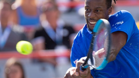 <p>               Gael Monfils, of France, returns to Roberto Bautista Agut, of Spain, during the Rogers Cup men's tennis tournament Saturday Aug. 10, 2019, in Montreal.(Paul Chiasson/The Canadian Press via AP)             </p>
