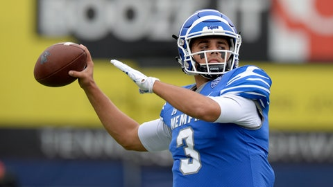 <p>               FILE - In this Oct. 13, 2018, file photo, Memphis quarterback Brady White warms up before an NCAA college football game against Central Florida, in Memphis, Tenn. Brady White has two seasons of eligibility remaining, yet he already has earned his master's degree. White now is working toward his doctorate while leading Memphis into its season opener Saturday against Mississippi. (AP Photo/Mark Zaleski, File)             </p>