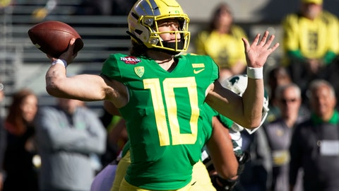 <p>               FILE - In this Dec. 31, 2018, file photo, Oregon quarterback Justin Herbert throws a pass during the first half of the Redbox Bowl NCAA college football game in Santa Clara, Calif. Herbert is among the top returning talents in the Pac-12, and the Ducks' hopes of league title contention in coach Mario Cristobal's second season could hinge on whether his quarterback improves on last year's 3,000-yard campaign. (AP Photo/Tony Avelar, File)             </p>