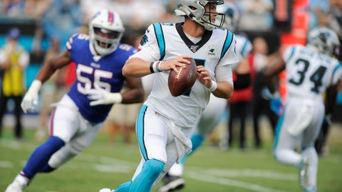 <p>               Carolina Panthers quarterback Kyle Allen (7) runs out of the pocket against the Buffalo Bills during the first half an NFL preseason football game, Friday, Aug. 16, 2019, in Charlotte, N.C. (AP Photo/Mike McCarn)             </p>
