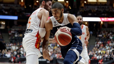 <p>               United States' Jayson Tatum, right, is defended by Spain's Rudy Fernandez during the second half of an exhibition basketball game Friday, Aug. 16, 2019, in Anaheim, Calif. (AP Photo/Marcio Jose Sanchez)             </p>