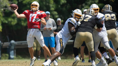 <p>               Los Angeles Chargers quarterback Philip Rivers throws a pass during the team's joint NFL practice with the New Orleans Saints in Costa Mesa, Calif., Thursday, Aug. 15, 2019. (AP Photo/Kyusung Gong)             </p>