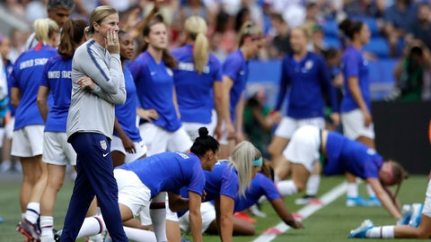 <p>               FILE - In this July 7, 2019, file photo, U.S. coach Jill Ellis watches her players warm up for the tema's Women's World Cup soccer final against the Netherlands in Decines, outside Lyon, France.  Ellis likened her tenure in charge the U.S. women's national team to an amusement park ride. Later, she compared it to a tumultuous ride on a five-year wave. The most successful coach in program history seems quite content to get off this merry-go-round on her own terms. (AP Photo/Alessandra Tarantino, File)             </p>