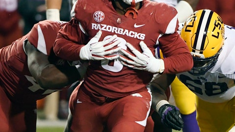 <p>               FILE - In this Nov. 10, 2018, file photo, Arkansas defensive back De'Jon Harris celebrates after a tackle against LSU during the second half of an NCAA college football game in Fayetteville, Ark. The Razorbacks did not win an SEC game in coach Chad Morris' first season, but Harris was one of the best _ and busiest _ linebackers in the conference. Harris led the SEC in tackles with 118. (AP Photo/Michael Woods, File)             </p>