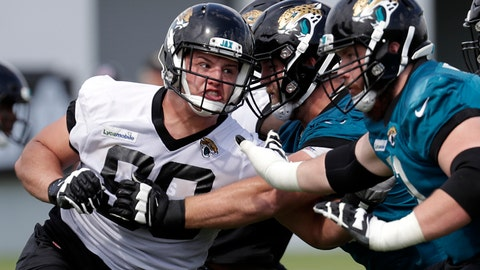 <p>               FILE - In this June 11, 2019, file photo, Jacksonville Jaguars defensive tackle Taven Bryan, left, rushes the offensive line during an NFL football practice, in Jacksonville, Fla. The defensive tackle and 2018 first-round draft pick is expected to be in the starting lineup again Thursday night, Aug. 29, 2019,  when the Jaguars (0-3) host the Atlanta Falcons (0-4) in the preseason finale for both teams. (AP Photo/John Raoux, File)             </p>