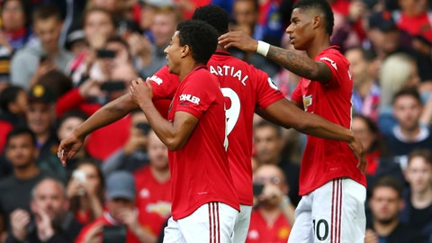 <p>               Manchester United's Marcus Rashford, right, celebrates with teammates after scoring his sides first goal during the English Premier League soccer match between Manchester United and Chelsea at Old Trafford in Manchester, England, Sunday, Aug. 11, 2019. (AP Photo/Dave Thompson)             </p>