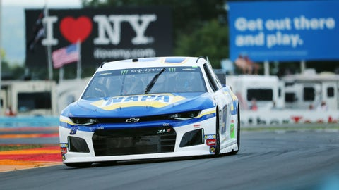 """<p>               Chase Elliott (9) drives through the area of the course called """"The Bus Stop"""" during a practice run for the NASCAR Cup Series auto race at Watkins Glen International, Saturday, Aug. 3, 2019, in Watkins Glen, New York. (AP Photo/John Munson)             </p>"""