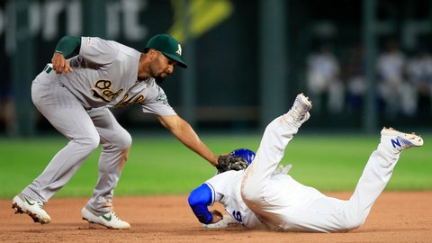 <p>               Kansas City Royals' Ryan O'Hearn, right, beats the tag by Oakland Athletics shortstop Marcus Semien, left, while diving back to second base during the fourth inning of a baseball game at Kauffman Stadium in Kansas City, Mo., Tuesday, Aug. 27, 2019. (AP Photo/Orlin Wagner)             </p>