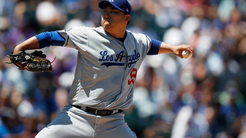 <p>               Los Angeles Dodgers starting pitcher Hyun-Jin Ryu works against the Colorado Rockies in the first inning of a baseball game Wednesday, July 31, 2019, in Denver. (AP Photo/David Zalubowski)             </p>
