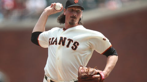 <p>               San Francisco Giants starting pitcher Jeff Samardzija throws in the first inning of a baseball game against the Philadelphia Phillies at Oracle Park in San Francisco, Saturday, Aug. 10, 2019. (AP Photo/Scot Tucker)             </p>