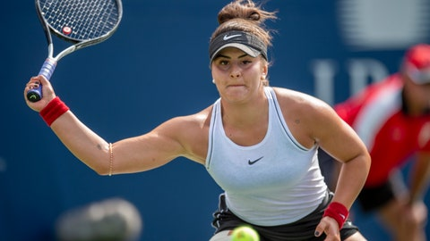 <p>               Bianca Andreescu, of Canada, lunges for a forehand on her way to defeating Karolina Pliskova, of the Czech Republic, during quarterfinal play at the Rogers Cup tennis tournament Friday, Aug. 9, 2019, in Toronto. (Fran Gunn/The Canadian Press via AP)             </p>