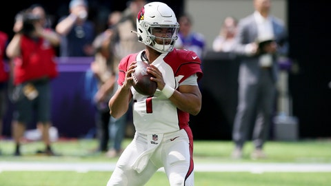 <p>               FILE - In a Saturday, Aug. 24, 2019 file photo, Arizona Cardinals quarterback Kyler Murray throws a pass during the first half of an NFL preseason football game against the Minnesota Vikings, in Minneapolis. (AP Photo/Jim Mone, File)             </p>
