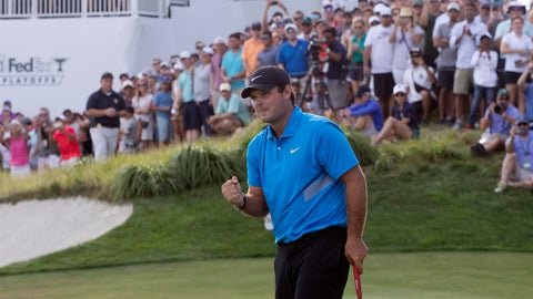 <p>               Patrick Reed pumps his fist on the 18th hole as he wins on the Northern Trust golf tournament at Liberty National Golf Course, Sunday, Aug. 11, 2019, in Jersey City, N.J. (AP Photo/Mark Lennihan)             </p>