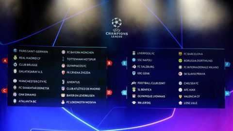<p>               The screen shows the teams of UEFA Champions League group stage draw at the Grimaldi Forum, in Monaco, Thursday, Aug. 29, 2019. (AP Photo/Daniel Cole)             </p>