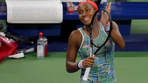 <p>               Coco Gauff, of the United States, reacts after defeating Anastasia Potapova, of Russia, during the first round of the US Open tennis tournament Tuesday, Aug. 27, 2019, in New York. (AP Photo/Julie Jacobson)             </p>