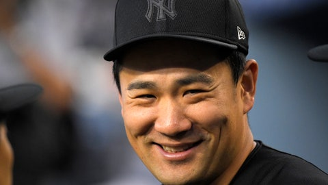 <p>               New York Yankees' Masahiro Tanaka, of Japan, smiles in the dugout during the first inning of a baseball game against the Los Angeles Dodgers, Friday, Aug. 23, 2019, in Los Angeles. (AP Photo/Mark J. Terrill)             </p>