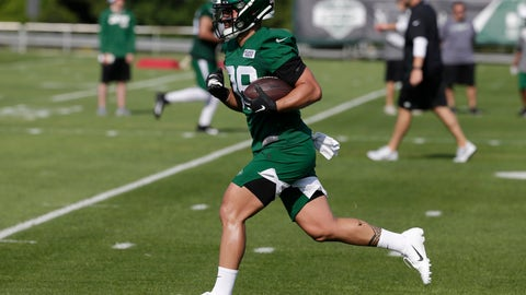 <p>               New York Jets' Valentine Holmes participates during practice at the NFL football team's training camp in Florham Park, N.J., Thursday, July 25, 2019. Holmes was a big star in the National Rugby League in Australia. And then, he stunningly left it all behind. Holmes is in training camp with the New York Jets, trying to fulfill a dream of playing American football in the NFL. (AP Photo/Seth Wenig)             </p>