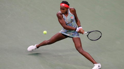 <p>               Coco Gauff, of the United States, returns a shot to Anastasia Potapova, of Russia, during the first round of the US Open tennis tournament Tuesday, Aug. 27, 2019, in New York. (AP Photo/Julie Jacobson)             </p>