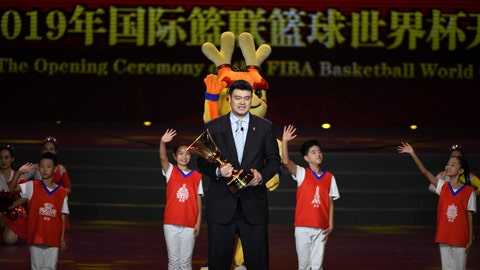 <p>               Former NBA player from China, Yao Ming holds a trophy during the opening ceremony of the 2019 Basketball World Cup in Beijing, China, Friday Aug. 30, 2019. (Greg Baker / Pool via AP)             </p>