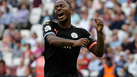 <p>               Manchester City's Raheem Sterling celebrates after scoring his side's fifth goal during the English Premier League soccer match between West Ham United and Manchester City at London stadium in London, Saturday, Aug. 10, 2019. (AP Photo/Kirsty Wigglesworth)             </p>