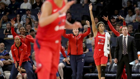 <p>               The Washington Mystics' bench celebrates a 3-point basket in the final minute of the team's 86-79 win over the Minnesota Lynx during a WNBA basketball game Friday, Aug. 16, 2019, in Minneapolis. (David Joles/Star Tribune via AP)             </p>