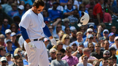 <p>               Chicago Cubs' Anthony Rizzo throws his helmet after striking out swinging during the fourth inning of a baseball game against the Washington Nationals, Friday, Aug. 23, 2019, in Chicago. (AP Photo/Matt Marton)             </p>