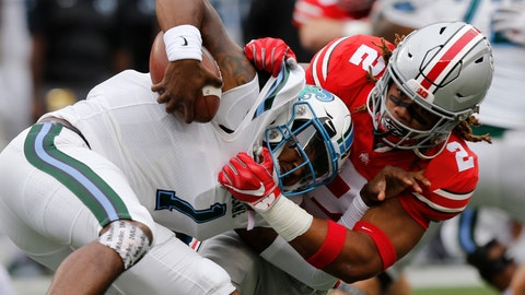 <p>               FILE - In this Sept. 22, 2018, file photo, Ohio State defensive end Chase Young, right, sacks Tulane quarterback Jonathan Banks during the first half of an NCAA college football game, in Columbus, Ohio. Chase Young is known to lead with his mouth. Being the loudest Buckeye on the field is part of the reason his teammates elected him a captain this season. The other part is that he can back it up the chattering. Young is Ohio State's best player, a 6-foot-5, 265-pound man with startling quickness and a mean streak who rarely stops cheering, cajoling and trash-talking. (AP Photo/Jay LaPrete, File)             </p>