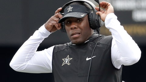 <p>               FILE - In this Oct. 13, 2018, file photo, Vanderbilt head coach Derek Mason watches from the sideline in the second half of an NCAA college football game against Florida, in Nashville, Tenn. Mason knows who's starting at running back, wide receiver and tight end. Now the Vanderbilt coach has to pick his starting quarterback with the start of fall practice, the quicker the better.  (AP Photo/Mark Humphrey, File)             </p>