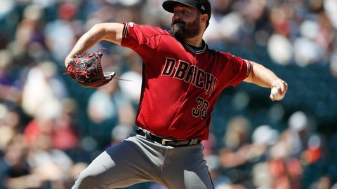 <p>               Arizona Diamondbacks starting pitcher Robbie Ray works against the Colorado Rockies in the first inning of a baseball game Wednesday, Aug. 14, 2019, in Denver. (AP Photo/David Zalubowski)             </p>