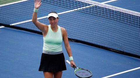 <p>               Jessica Pegula acknowledges the crowd after defeating Anna Kalinskaya, of Russia, in a semifinal match at the Citi Open tennis tournament, Saturday, Aug. 3, 2019, in Washington. (AP Photo/Patrick Semansky)             </p>