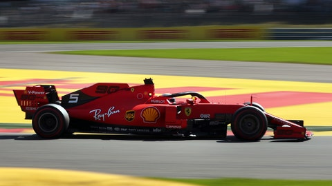 <p>               Ferrari driver Sebastian Vettel of Germany steers his car during the first practice session ahead of the Belgian Formula One in Spa-Francorchamps, Belgium, Friday, Aug. 30, 2019. The Belgian Formula One race will take place on Sunday. (AP Photo/Francisco Seco)             </p>