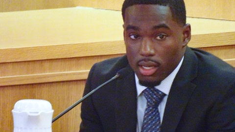 <p>               Former Wisconsin football player Quintez Cephus testifies during his trial, Friday Aug. 2, 2019, in Madison, Wis. Cephus has told jurors that the two women he is accused of sexually assaulting wanted to have sex with him.  (Ed Treleven/Wisconsin State Journal via AP)             </p>