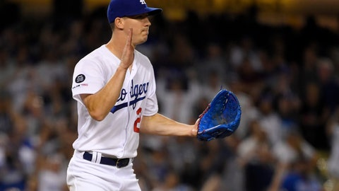 <p>               Los Angeles Dodgers starting pitcher Walker Buehler celebrates after striking out San Diego Padres' Eric Hosmer to end the baseball game Saturday, Aug. 3, 2019, in Los Angeles. Buehler threw a five-hitter as the Dodgers won 4-1. (AP Photo/Mark J. Terrill)             </p>