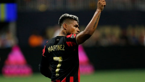 <p>               Atlanta United forward Josef Martinez looks to the crowd after scoring a goal during the second half of an MLS soccer game against the Los Angeles Galaxy, Saturday, Aug. 3, 2019, in Atlanta. (AP Photo/Andrea Smith)             </p>