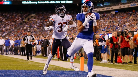 <p>               CORRECTS TO GIANTS' TJ JONES NOT ALDRICK ROSAS - New York Giants' TJ Jones, right, catches a pass for a touchdown against Chicago Bears defensive back John Franklin (37) during the second quarter of a preseason NFL football game Friday, Aug. 16, 2019, in East Rutherford, N.J. (AP Photo/Adam Hunger)             </p>