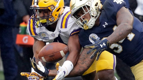 <p>               FILE - In this Jan. 1, 2018, file photo, LSU linebacker K'Lavon Chaisson, left, breaks up a pass intended for Notre Dame running back Tony Jones Jr. during the first half of the Citrus Bowl NCAA college football game in Orlando, Fla. LSU's top edge pass rusher is back and hungry after returning from a knee injury that limited him to less than one game last season. Outside linebacker K'Lavon Chaisson wants to be a difference maker for No. 6 LSU this season, and his teammates and coaches believe he will be.(AP Photo/John Raoux, File)             </p>