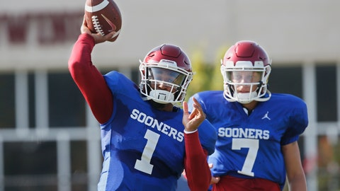 <p>               FILE - In this Monday, Aug. 5, 2019, file photo, Oklahoma quarterback Jalen Hurts (1) throws as quarterback Spencer Rattler watches during the NCAA college football team's practice in Norman, Okla. Oklahoma coach Lincoln Riley has chosen Hurts as his starting quarterback for the Sept. 1 season opener against Houston over Rattler and Tanner Mordecai. (AP Photo/Sue Ogrocki, File)             </p>
