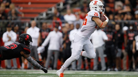 <p>               FILE - In this Oct. 6, 2018, file photo, Illinois running back Mike Epstein gets away from Rutgers defensive back Kiy Hester on the way to a touchdown during the second half of an NCAA college football game in Piscataway, N.J. Epstein is back this year and ready to go, head coach Lovie Smith said. (AP Photo/David Boe, File)             </p>