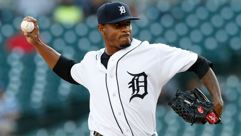 <p>               Detroit Tigers starting pitcher Edwin Jackson throws during the first inning of a baseball game against the Kansas City Royals, Friday, Aug. 9, 2019, in Detroit. (AP Photo/Carlos Osorio)             </p>