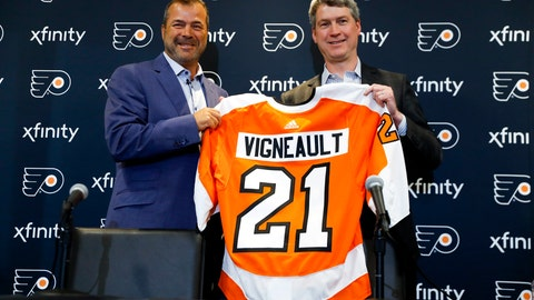 "<p>               FILE - In this April 18, 2019, file photo, Alain Vigneault, left, newly hired Philadelphia Flyers head coach, and general manager Chuck Fletcher pose for a photograph after an introductory press conference at the Flyer's practice facility in Voorhees, N.J. When NHL officials approached the Philadelphia Flyers about appearing on their latest behind-the-scenes show, they faced almost no resistance. ""There weren't many reservations,"" general manager Chuck Fletcher said. ""There really aren't any negatives as far as I'm concerned."" The Flyers will be featured on NHL Network's second season of ""Behind the Glass"" that gives a peek behind the curtain to training camp, exhibition games and the regular-season opener in Europe. (AP Photo/Matt Slocum, File)             </p>"