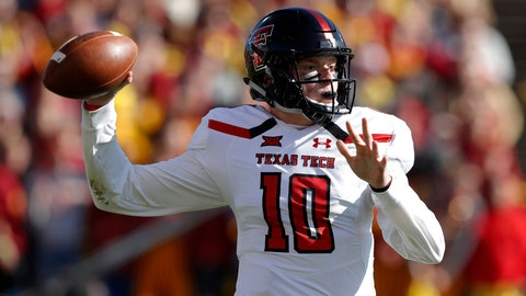 <p>               FILE - In this Oct. 27, 2018, file photo, Texas Tech quarterback Alan Bowman throws a pass during the first half of an NCAA college football game against Iowa State in Ames, Iowa. The Red Raiders have a new coach in Matt Wells, and a healthy sophomore quarterback in Bowman after he showed off his exceptional ability in between dealing with a deflated lung. (AP Photo/Charlie Neibergall, File)             </p>